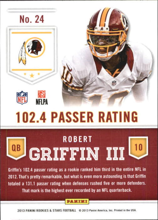 2013 Rookies and Stars Statistical Standouts #24 Robert Griffin III back image