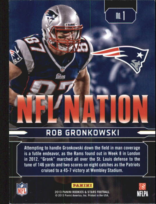 2013 Rookies and Stars NFL Nation #1 Rob Gronkowski back image