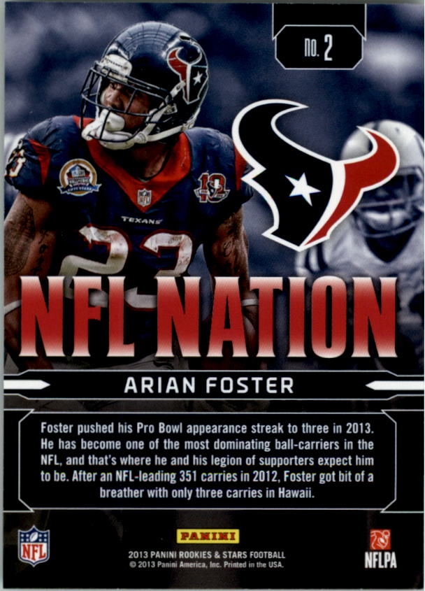 2013 Rookies and Stars NFL Nation #2 Arian Foster back image
