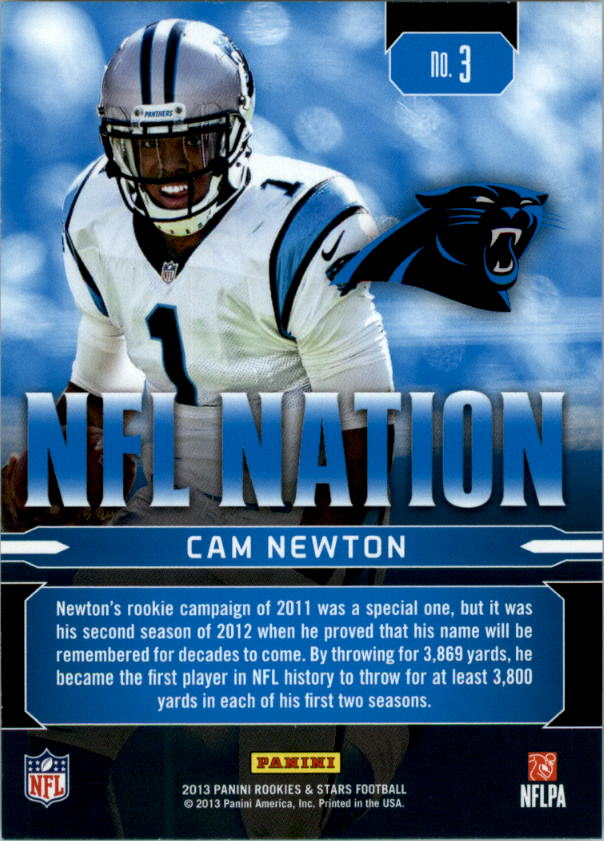 2013 Rookies and Stars NFL Nation #3 Cam Newton back image