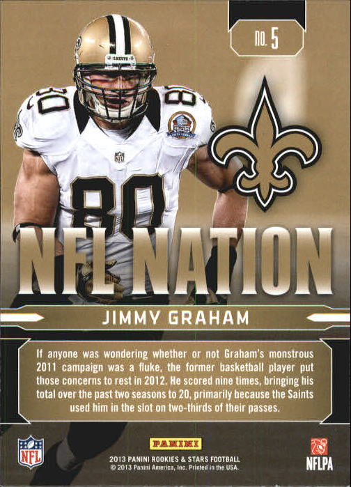 2013 Rookies and Stars NFL Nation #5 Jimmy Graham back image