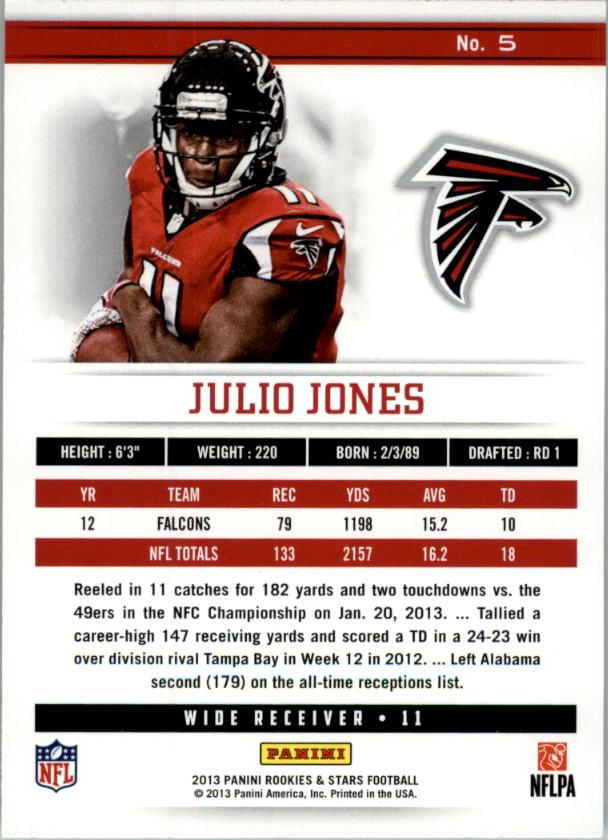 2013 Rookies and Stars Longevity Parallel #5 Julio Jones back image