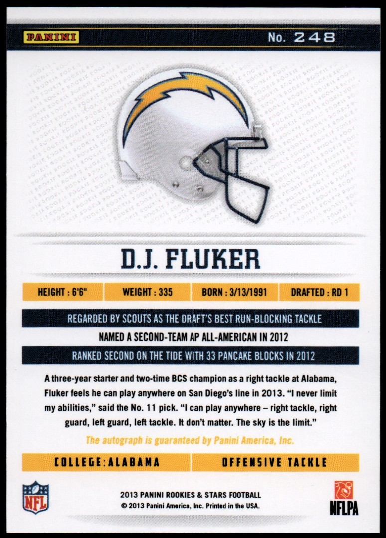2013 Rookies and Stars Rookie Autographs Longevity #248 D.J. Fluker back image
