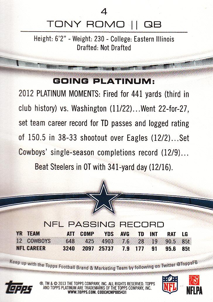 2013 Topps Platinum Sapphire #4 Tony Romo back image