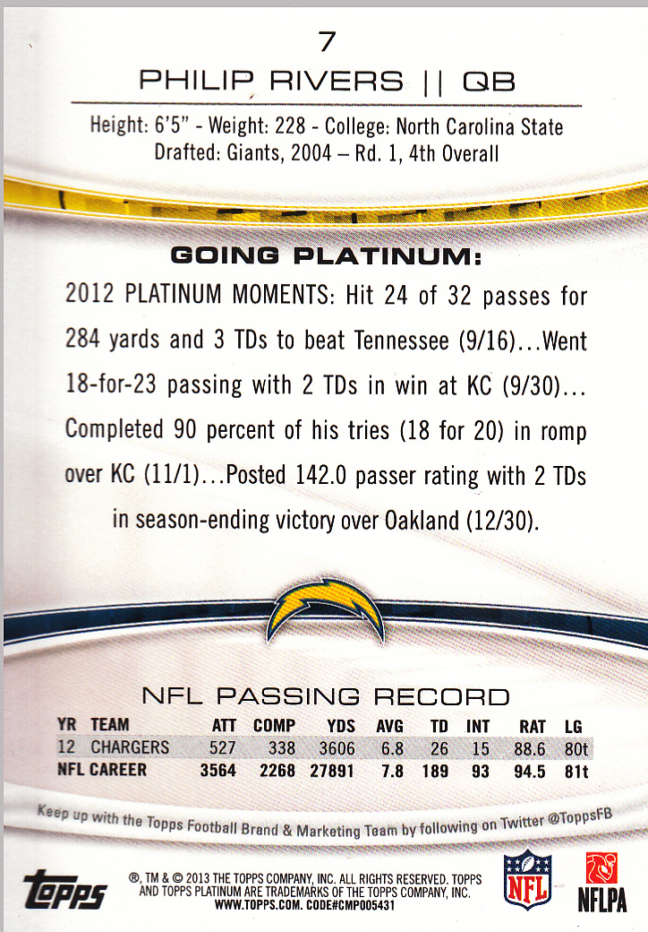 2013 Topps Platinum Sapphire #7 Philip Rivers back image