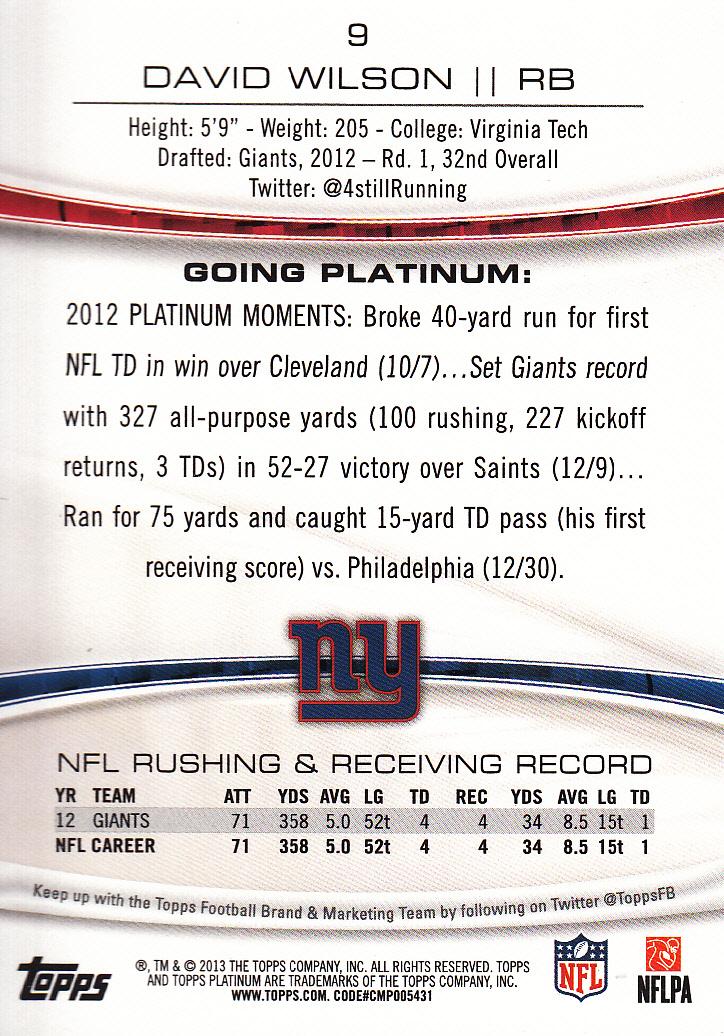2013 Topps Platinum Sapphire #9 David Wilson back image