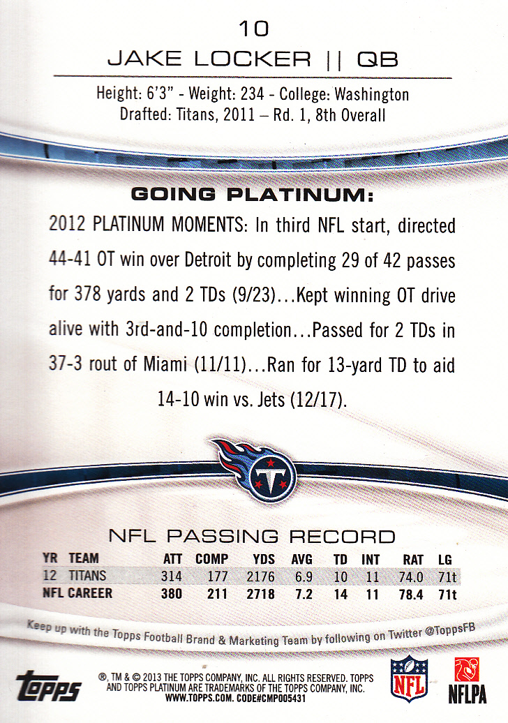 2013 Topps Platinum Sapphire #10 Jake Locker back image