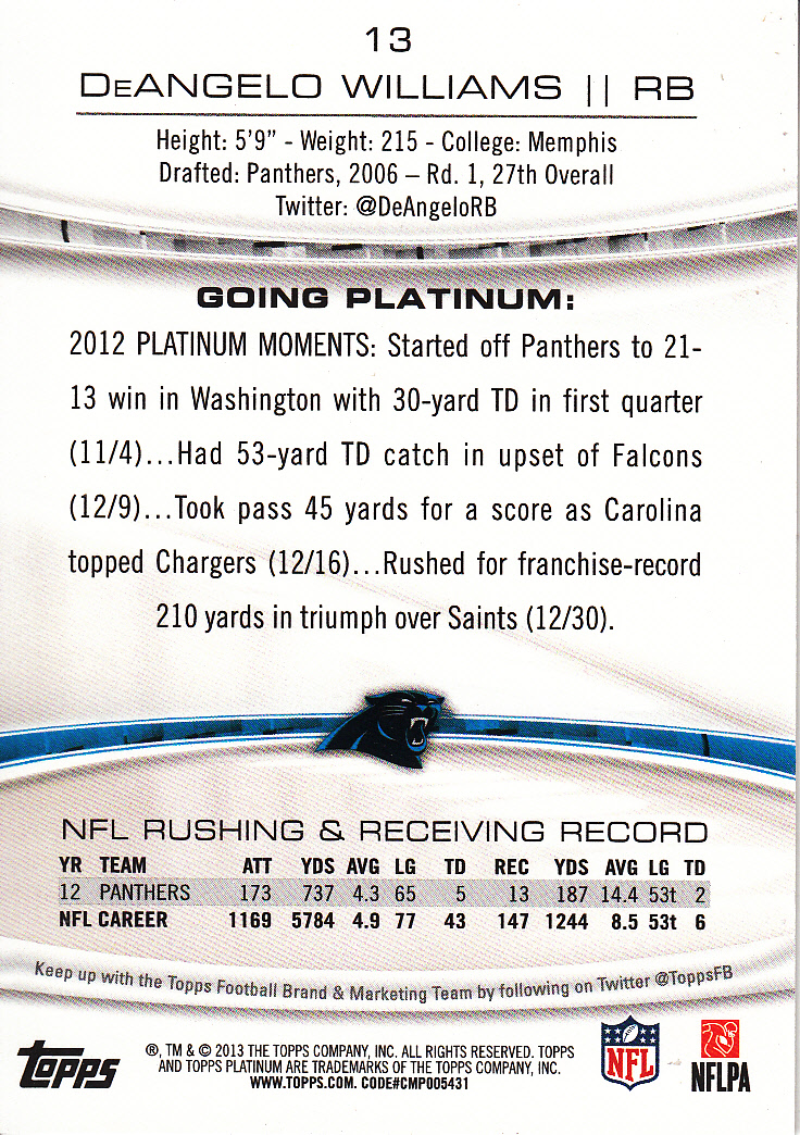 2013 Topps Platinum Sapphire #12 Robert Griffin III back image