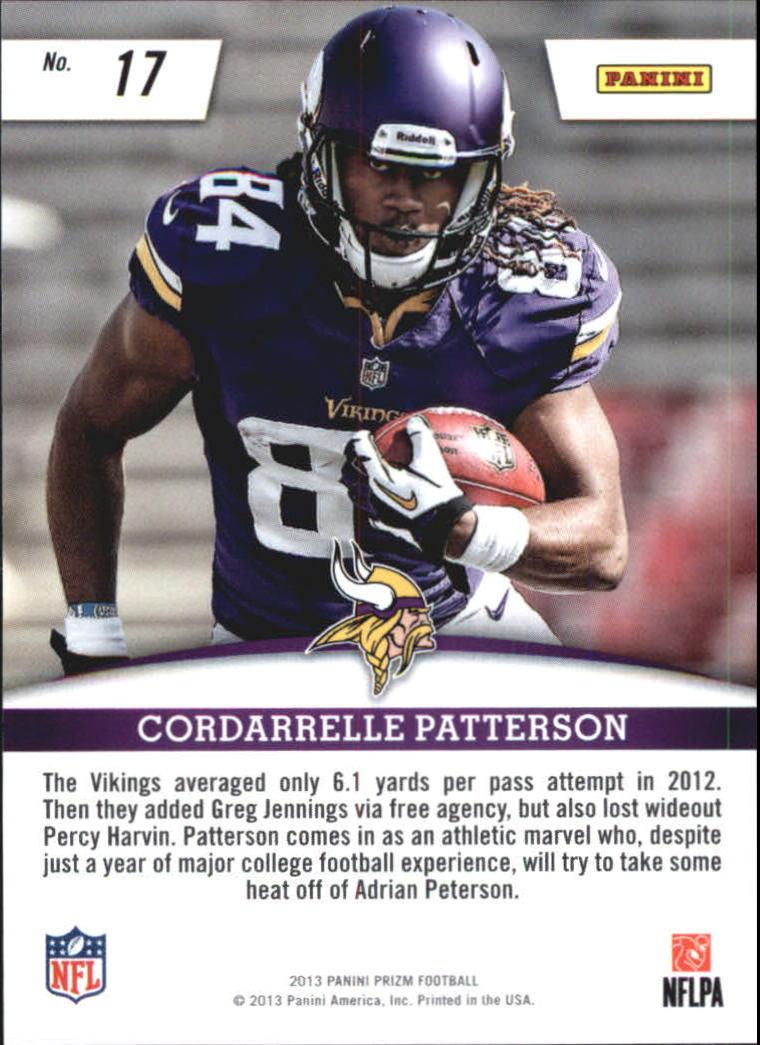 2013 Panini Prizm Rookie Impact #17 Cordarrelle Patterson back image