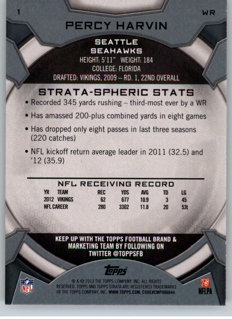 2013 Topps Strata #1 Percy Harvin back image