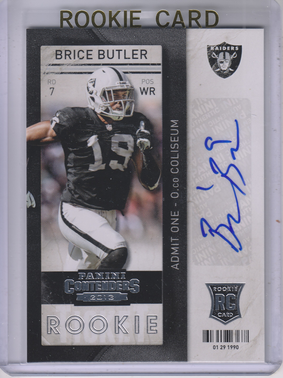2013 Panini Contenders #112A Brice Butler AU RC/(no ball)
