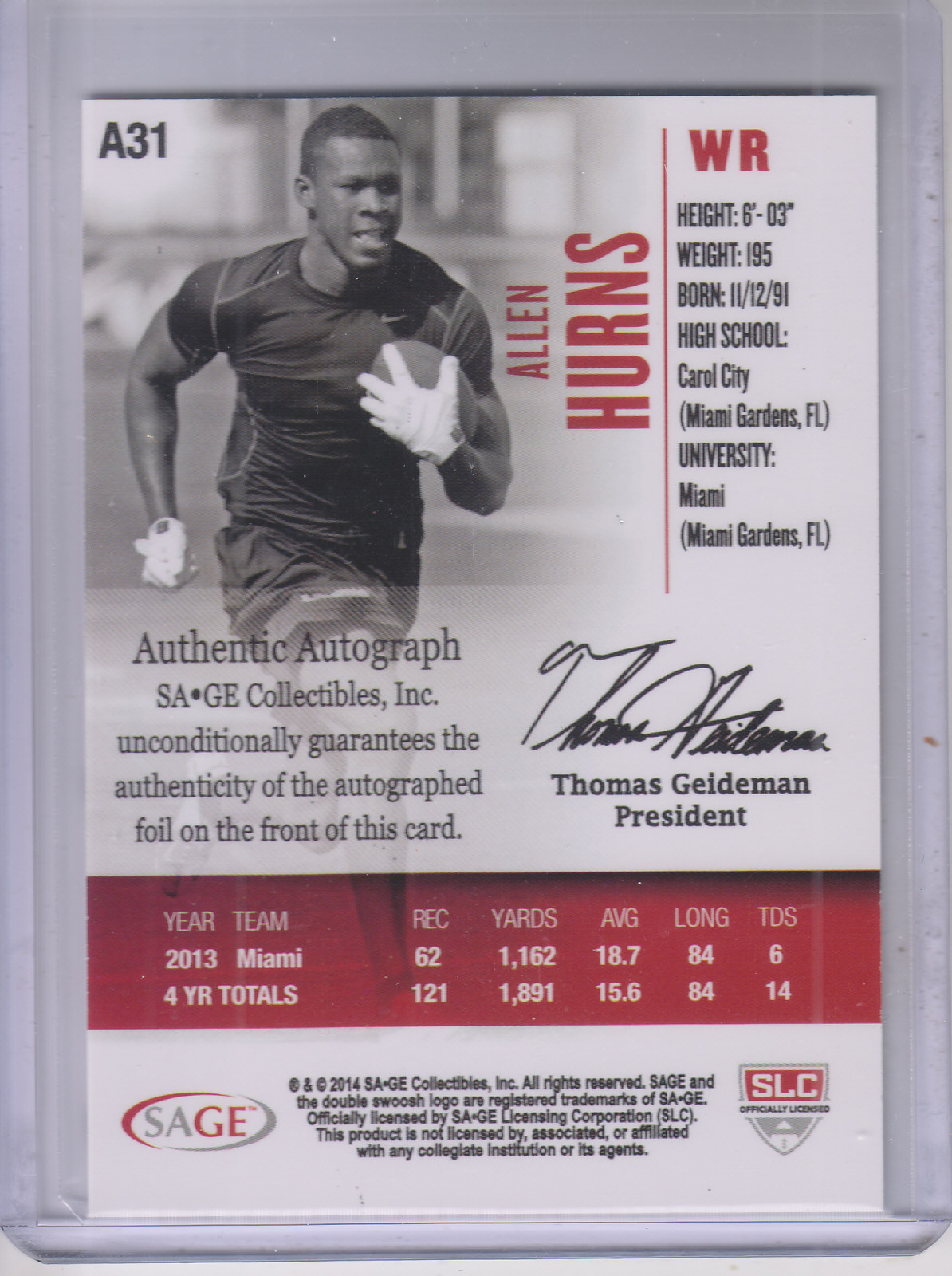 2014 SAGE HIT Autographs Black #A31 Allen Hurns back image