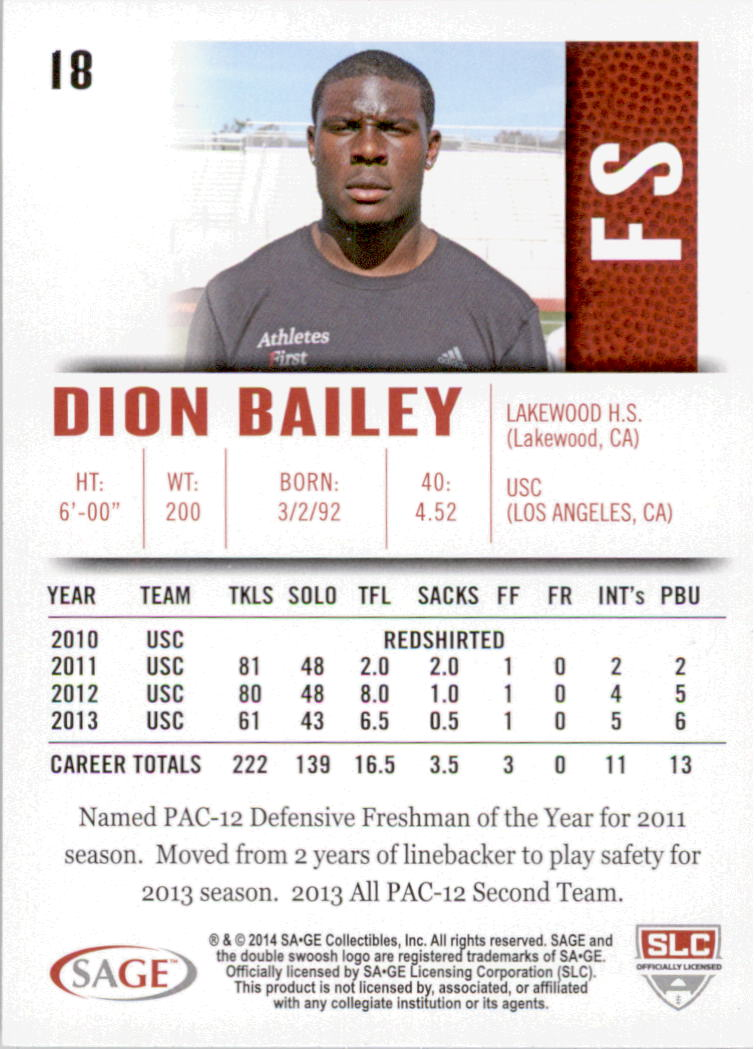 2014 SAGE HIT Silver #18 Dion Bailey back image