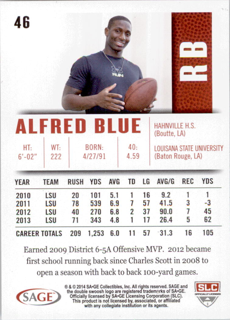 2014 SAGE HIT Silver #46 Alfred Blue back image
