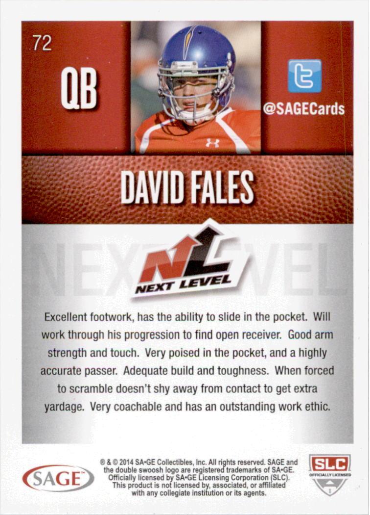 2014 SAGE HIT Silver #72 David Fales NL back image