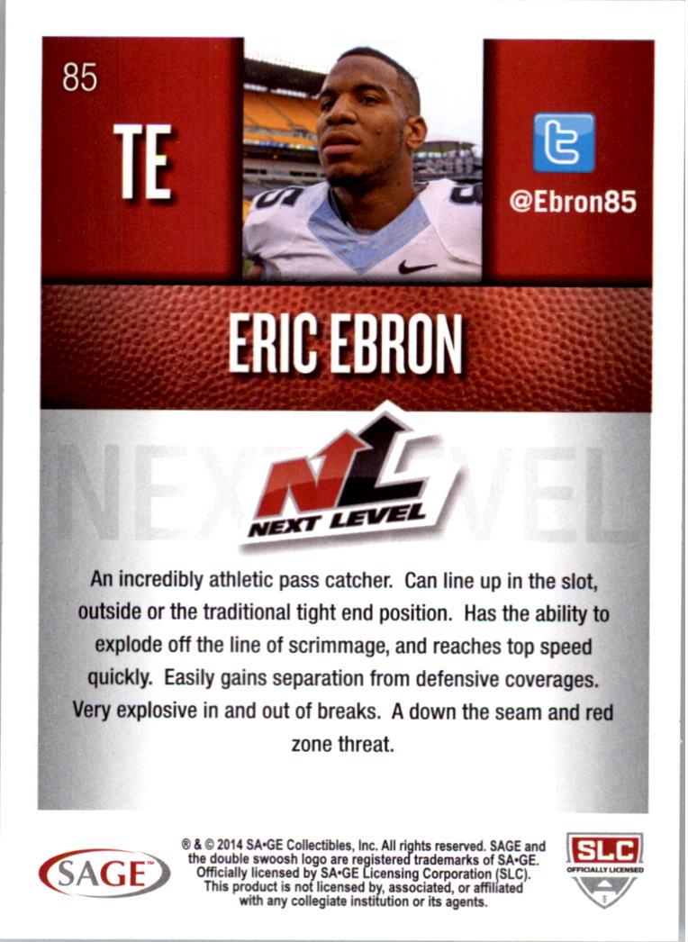 2014 SAGE HIT Silver #85 Eric Ebron NL back image