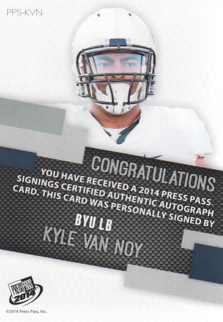 2014 Press Pass Autographs Gold #KV Kyle Van Noy/199 back image