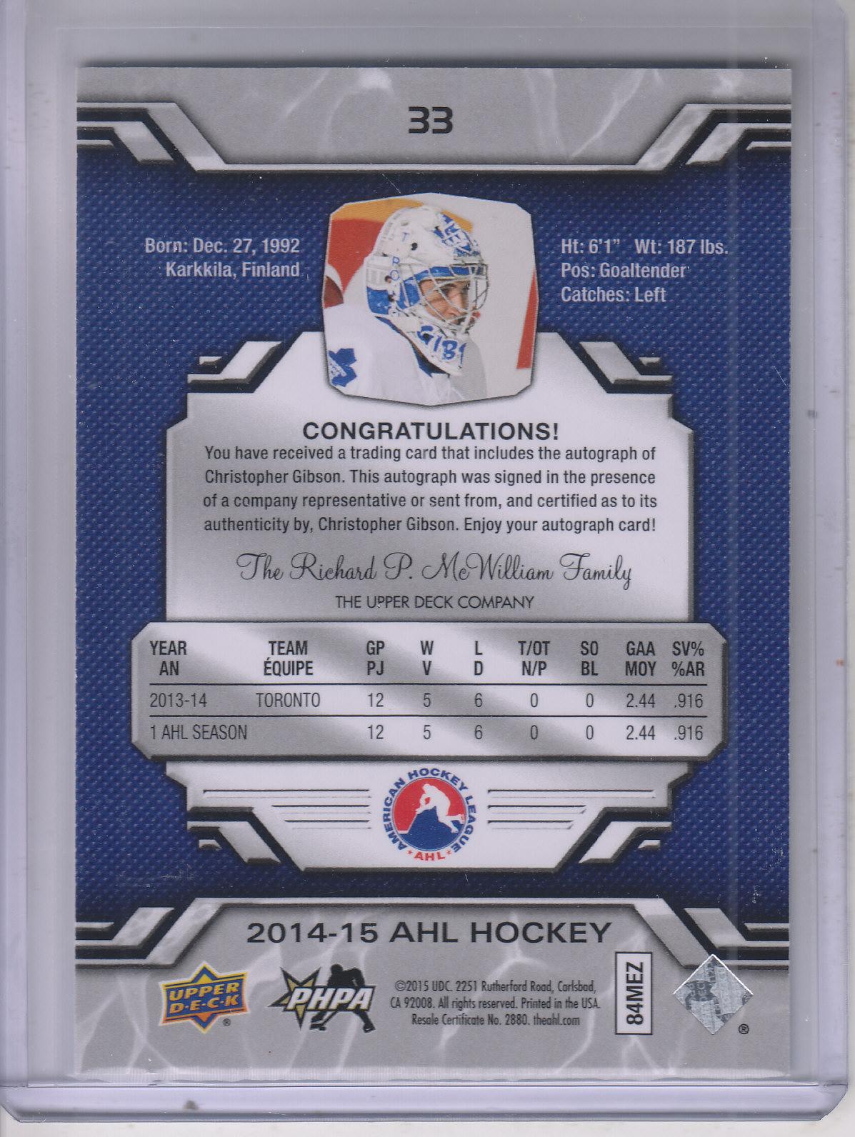 2014-15 Upper Deck AHL Autographs #33 Christopher Gibson back image