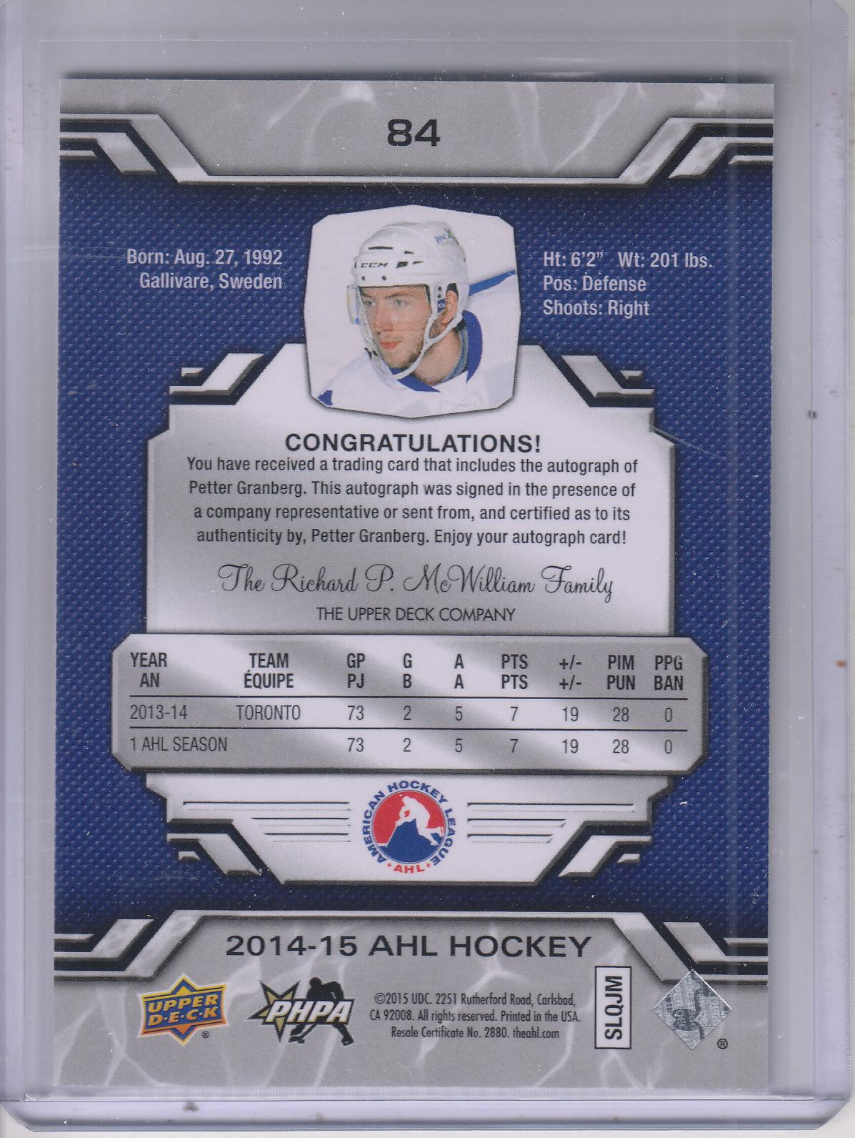 2014-15 Upper Deck AHL Autographs #84 Petter Granberg back image