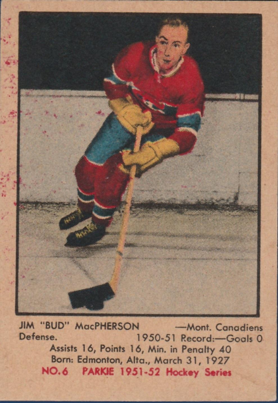 1951-52 Parkhurst #6 Bud MacPherson RC