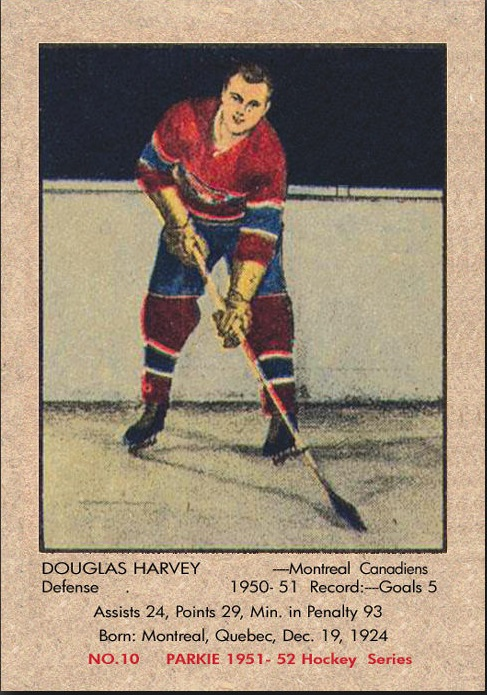 1951-52 Parkhurst #10 Doug Harvey RC