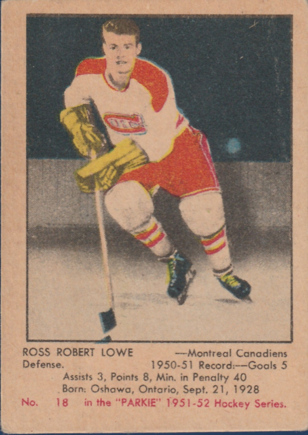 1951-52 Parkhurst #18 Ross Robert Lowe RC