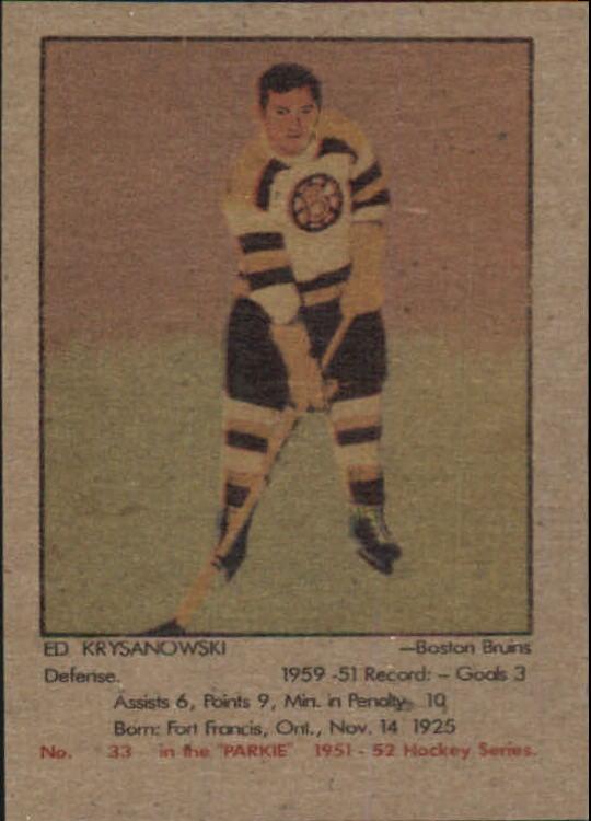 1951-52 Parkhurst #33 Ed Kryznowski UER RC