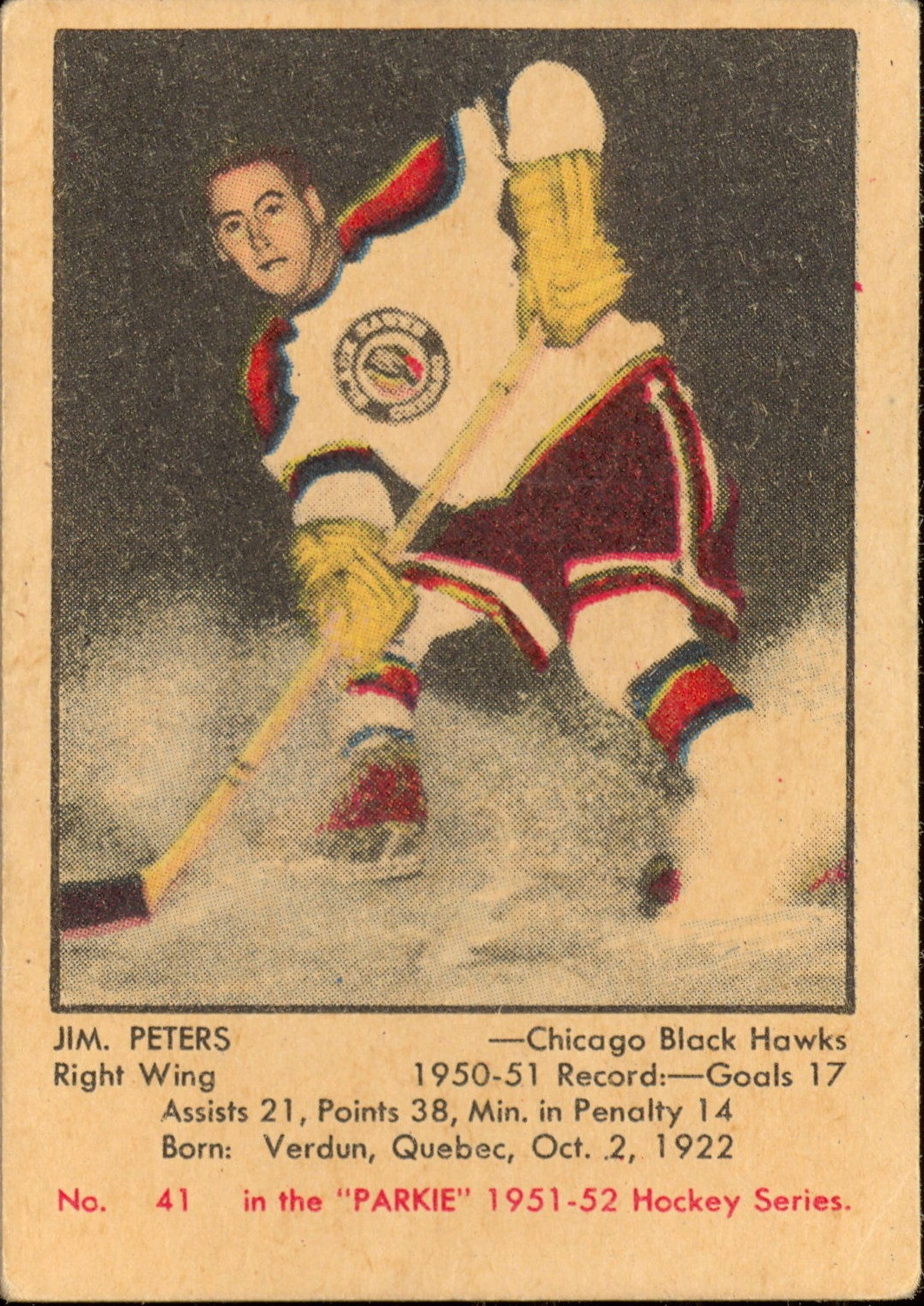 1951-52 Parkhurst #41 Jim Peters RC