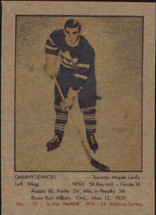 1951-52 Parkhurst #71 Danny Lewicki RC