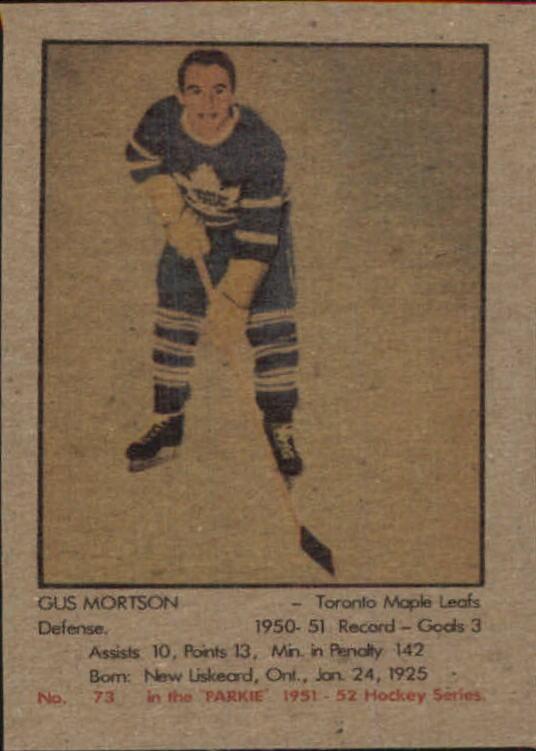 1951-52 Parkhurst #73 Gus Mortson RC