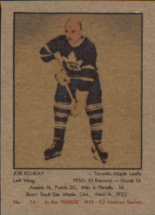 1951-52 Parkhurst #74 Joe Klukay RC
