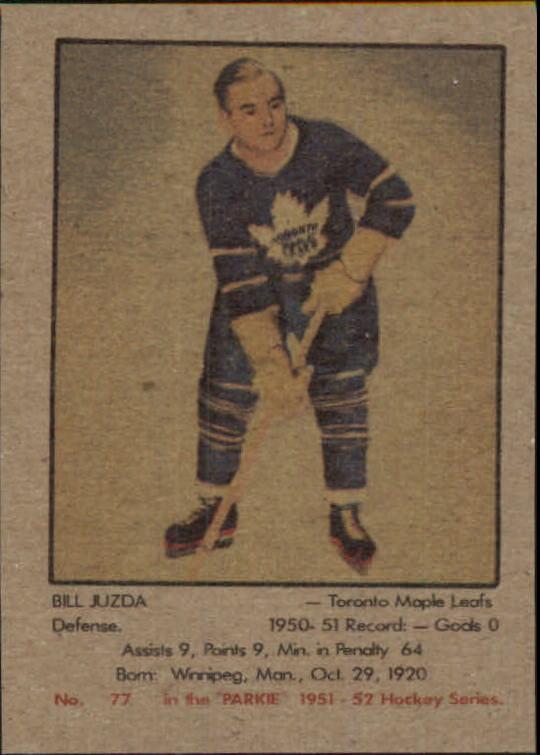 1951-52 Parkhurst #77 Bill Juzda RC