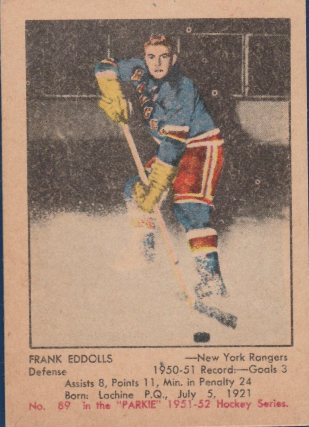 1951-52 Parkhurst #89 Frank Eddolls RC