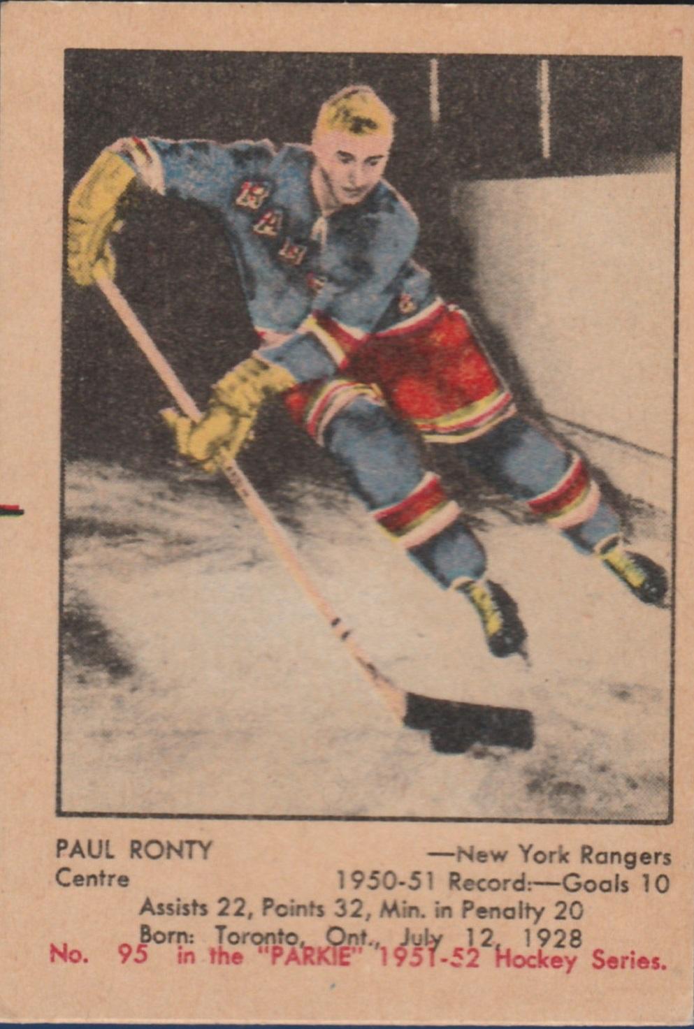 1951-52 Parkhurst #95 Paul Ronty RC
