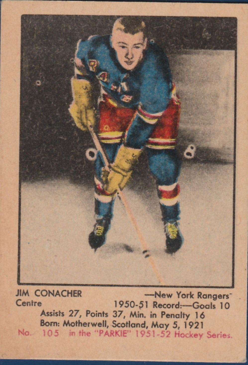 1951-52 Parkhurst #105 Jim Conacher RC