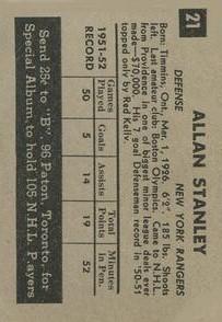 1952-53 Parkhurst #21 Allan Stanley back image