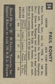 1952-53 Parkhurst #24 Paul Ronty back image