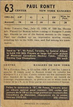 1953-54 Parkhurst #63 Paul Ronty back image