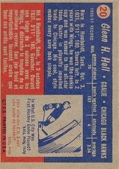 1957-58 Topps #20 Glenn Hall RC back image