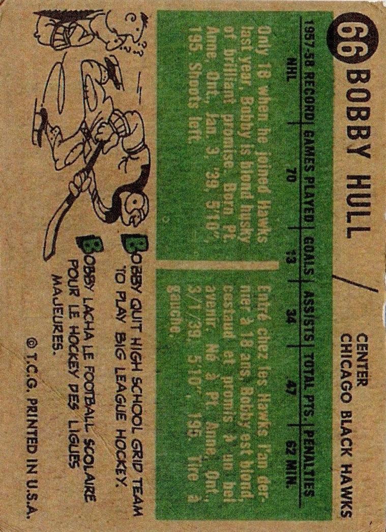 1958-59 Topps #66 Bobby Hull RC back image