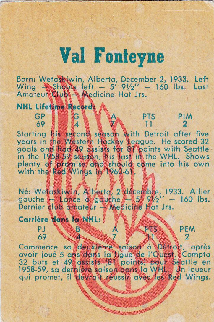 1960-61 Parkhurst #21 Val Fonteyne RC back image