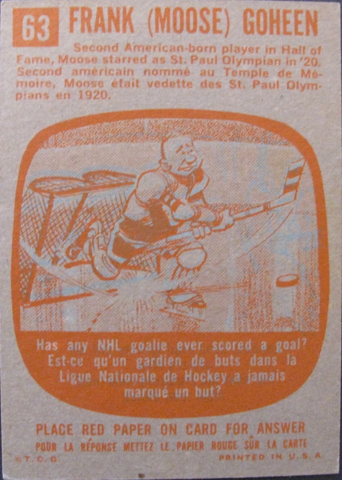 1960-61 Topps #63 Moose Goheen ATG RC back image