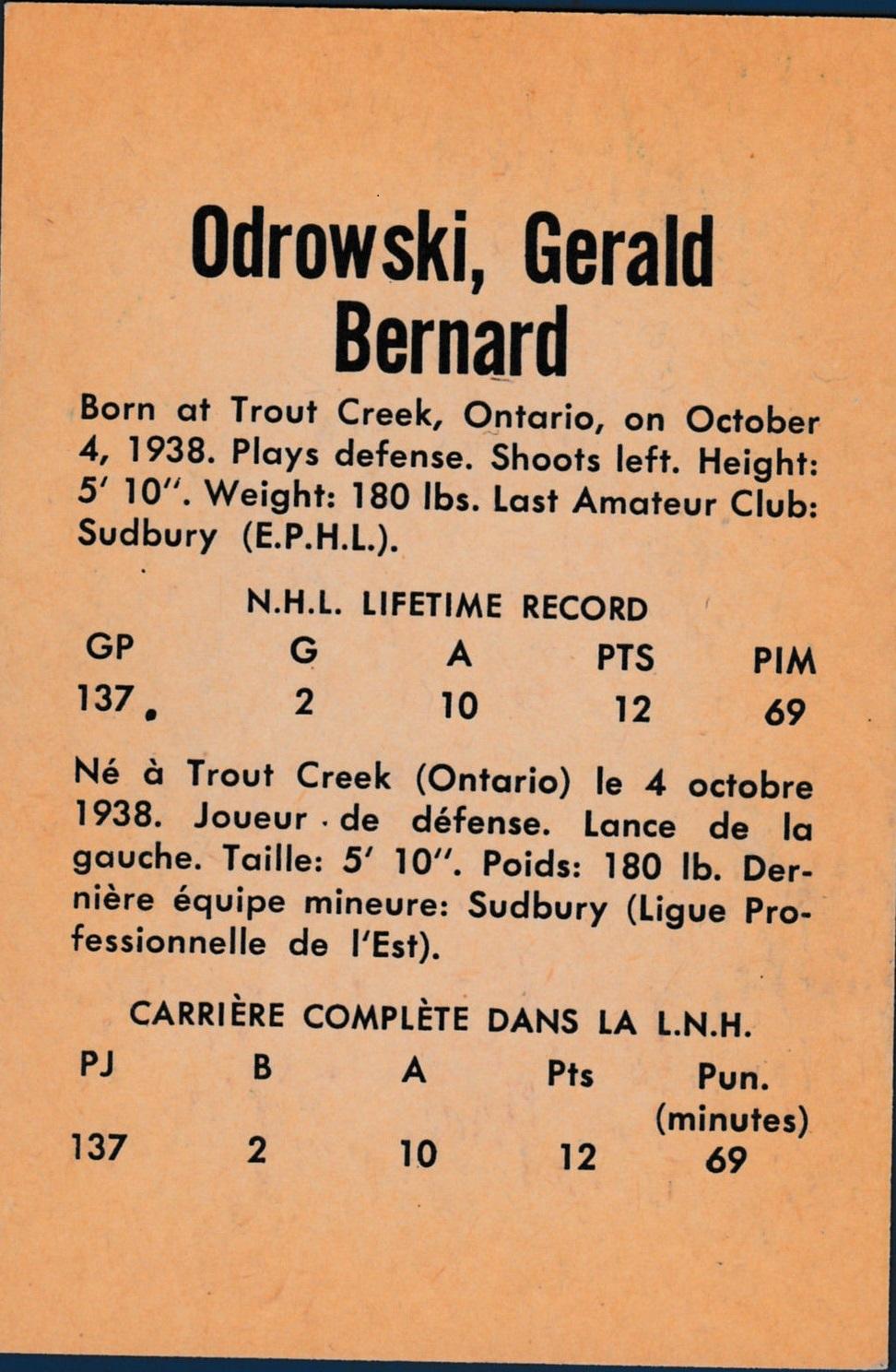 1962-63 Parkhurst #20 Gerry Odrowski RC back image