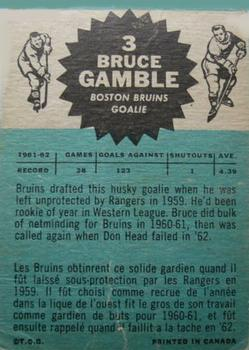 1962-63 Topps #3 Bruce Gamble RC back image