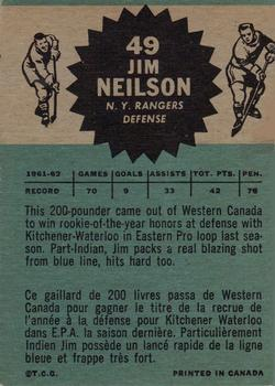 1962-63 Topps #49 Jim Neilson RC back image