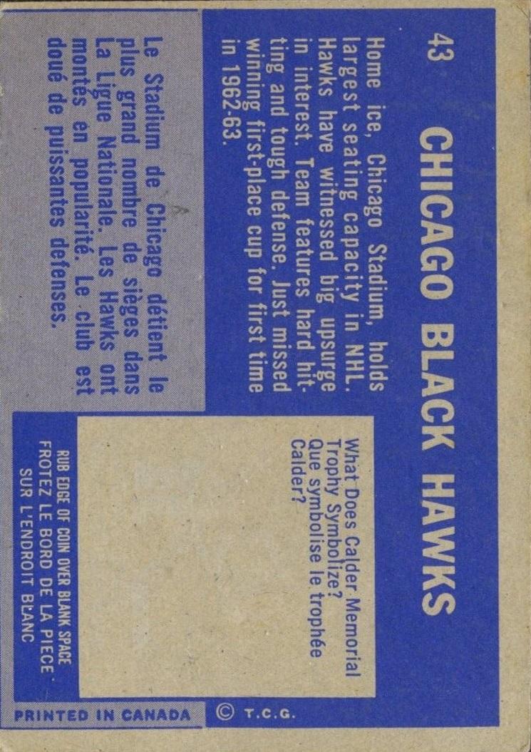 1963-64 Topps #43 Blackhawks Team back image