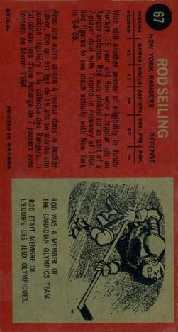 1964-65 Topps #67 Rod Seiling RC back image