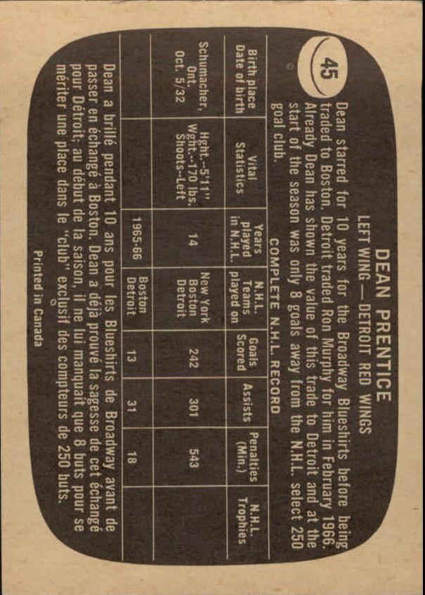1966-67 Topps #45 Dean Prentice back image
