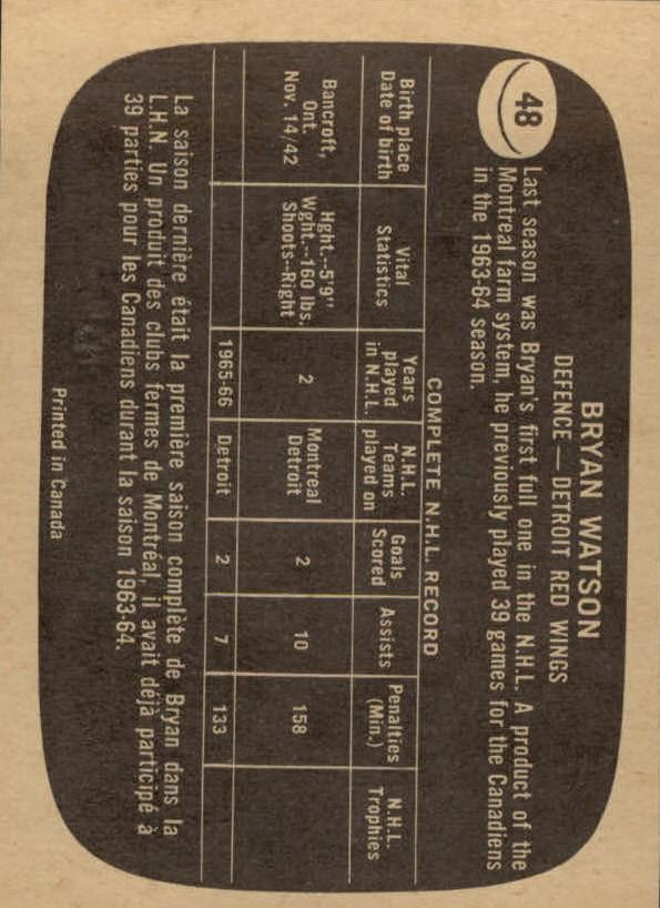 1966-67 Topps #48 Bryan Watson back image