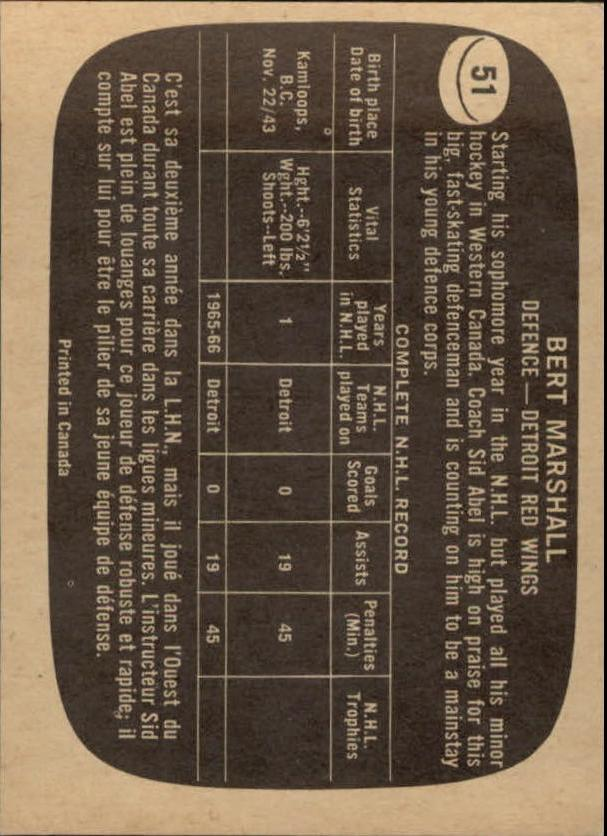 1966-67 Topps #51 Bert Marshall RC back image